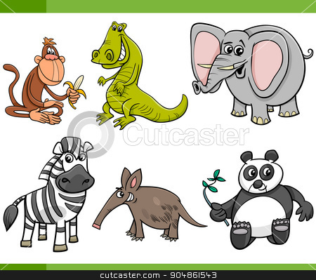 wild animals cartoon set stock vector clipart, Cartoon Illustration of Wild Animal Characters Set by Igor Zakowski