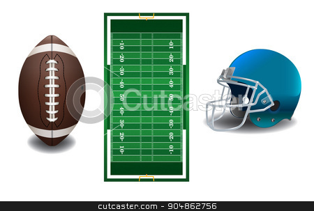 American Football Elements Illustration stock vector clipart, A realistic textured American football field, ball, and helmet isolated on a white background illustration. Vector EPS 10 available. EPS file contains transparencies and gradient mesh. by Jason Enterline
