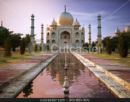 Taj Mahal  stock photo, Taj Mahal at sunset time, view from front. by Leonello Calvetti
