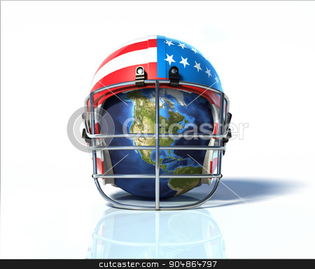 Planet Earth protected by an American football helmet, painted w stock photo, Planet Earth protected by an American football helmet, painted with stars and stripes. On white surface and background, with clipping path included. by Leonello Calvetti