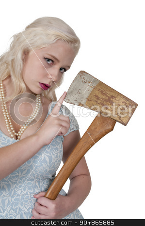 Woman with Axe stock photo, Beautiful possessed woman in a trance holding an axe by Robert Byron