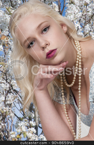 Beautiful Woman stock photo, Beautiful young sexy woman in a dress by Robert Byron