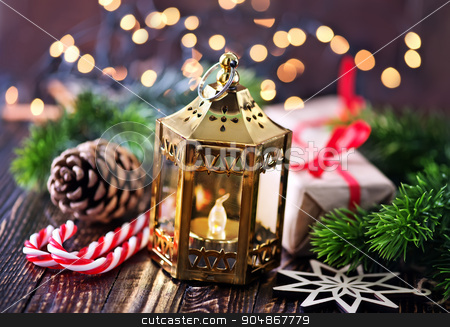 Christmas background stock photo, Christmas background, Christmas decoration on candle by tycoon