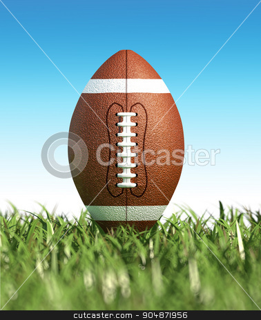 American football ball, on the grass. Close up. stock photo, American football ball, on the grass, with blue sky in the background, no clouds. Side view, from ground level. with foreground grass out of focus. (dof effect) by Leonello Calvetti