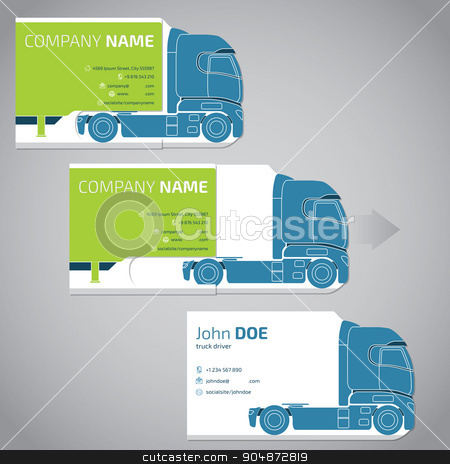 Two piece business card with truck and trailer stock vector