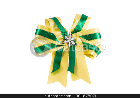 ribbon with snow crystals stock photo, green & yellow color ribbon with snow crystals at central on white background by stockdevil