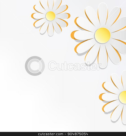 Three cutout chamomiles on grayscale. Floral spring abstract  stock vector clipart, Three cutout chamomiles on grayscale. Floral spring abstract background by Makkuro_GL