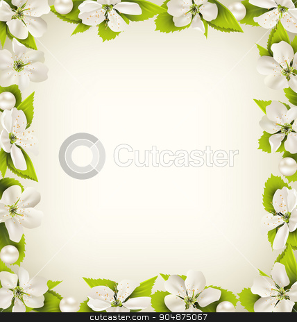 Cherry flowers with pearl beads like frame on beige stock vector clipart, Cherry flowers with pearl beads like frame on beige background by Makkuro_GL