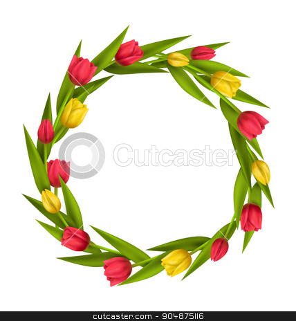 Circle frame with tulips red and yellow flowers isolated on whit stock vector clipart, Circle frame with tulips red and yellow flowers isolated on white background by Makkuro_GL