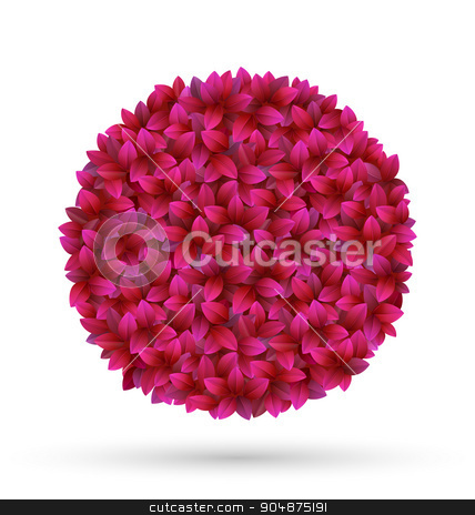Pink flower petals circle frame isolated on white stock vector clipart, Pink flower petals circle frame isolated on white background by Makkuro_GL