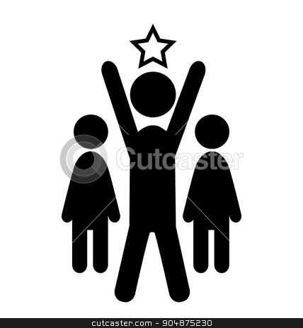 Outstanding Man Win Leader People Flat Icons Pictogram Isolated  stock vector clipart, Outstanding Man Win Leader People Flat Icons Pictogram Isolated on White Background by Makkuro_GL
