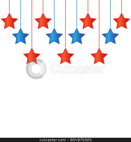 Stars in US colors stock vector clipart, Eleven red and blue stars in US national colors by Makkuro_GL
