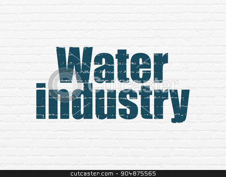 Manufacuring concept: Water Industry on wall background stock photo, Manufacuring concept: Painted blue text Water Industry on White Brick wall background by mkabakov