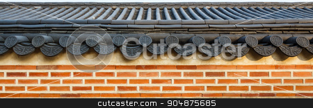 roof on wall stock photo, roof on wall in Gyeongbokgung palace ,Korea by stockdevil