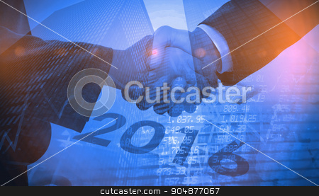 Composite image of 2016 graphic stock photo, 2016 graphic against stocks and shares by Wavebreak Media