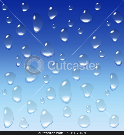 Water drops on blue stock vector clipart, Water drops on blue background by Makkuro_GL