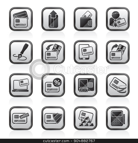 credit card pos terminal and atm icons stock vector