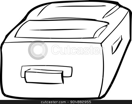 Single Outlined Suitcase stock vector clipart, Single outlined suitcase laying flat over white by Eric Basir