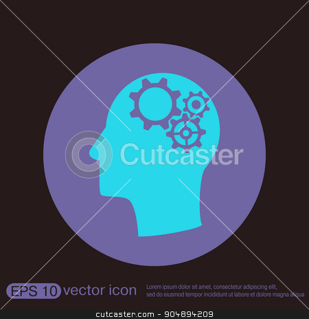 Vector Icon head think silhoutte vector man and his mind