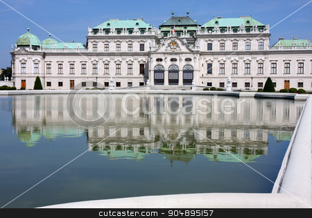 Baroque castle Belvedere, Vienna, Austria stock photo, Baroque castle Belvedere with small lake, Vienna, Austria by vladacanon1