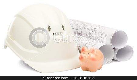 Drawings for building and helmet stock photo, Construction house. Drawings for building and helmet on white a background by cherezoff