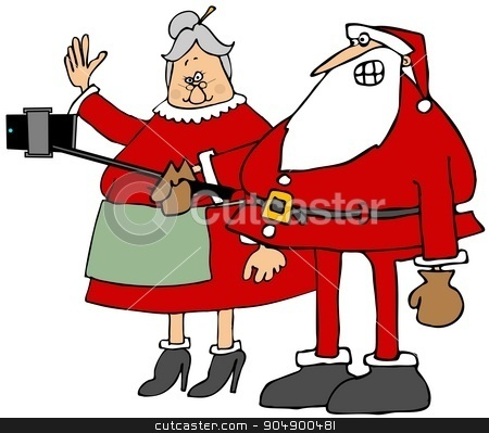 The Claus's selfy stock photo, Illustration depicting Santa and Mrs. Claus taking a selfy with their smartphone. by Dennis Cox