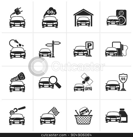 Black Car and road services icons  stock vector clipart, Black Car and road services icons - vector icon set by Stoyan Haytov
