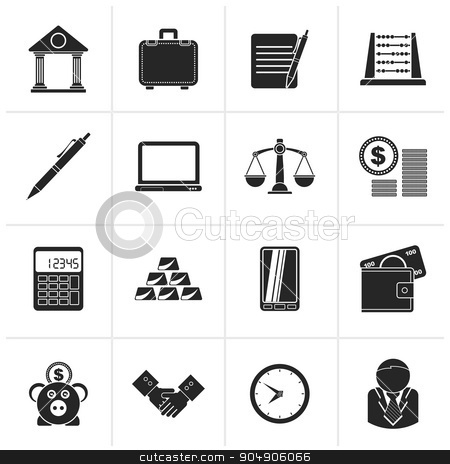 Black Business and office icons  stock vector clipart, Black Business and office icons - vector icon set by Stoyan Haytov