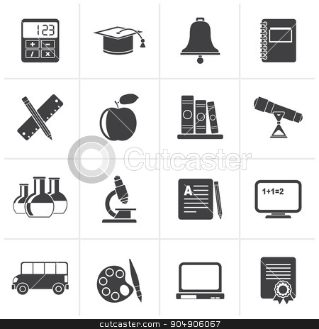 Black Education and school objects icons  stock vector clipart, Black Education and school objects icons - vector icon set by Stoyan Haytov