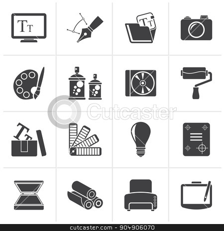 Black Graphic and website design icons  stock vector clipart, Black Graphic and website design icons - vector icon set by Stoyan Haytov