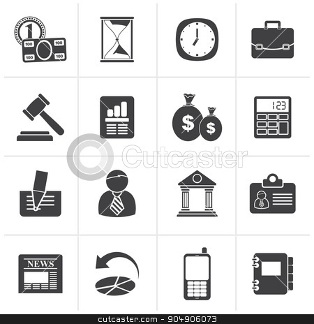 Black Business, Office and Finance Icons stock vector clipart, Black Business, Office and Finance Icons - Vector Icon Set by Stoyan Haytov