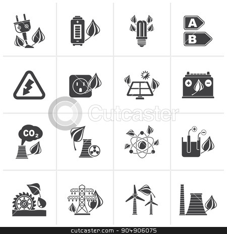Black Green energy and environment icons  stock vector clipart, Black Green energy and environment icons - vector icon set by Stoyan Haytov
