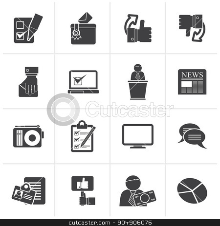 Black Voting and elections icons stock vector clipart, Black Voting and elections icons - vector icon set by Stoyan Haytov