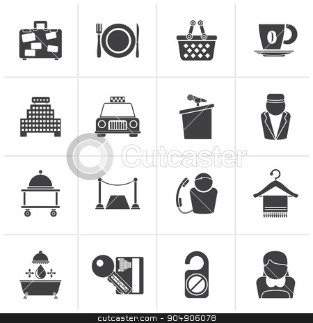 Black Hotel and motel services icons  stock vector clipart, Black Hotel and motel services icons - vector icon set by Stoyan Haytov