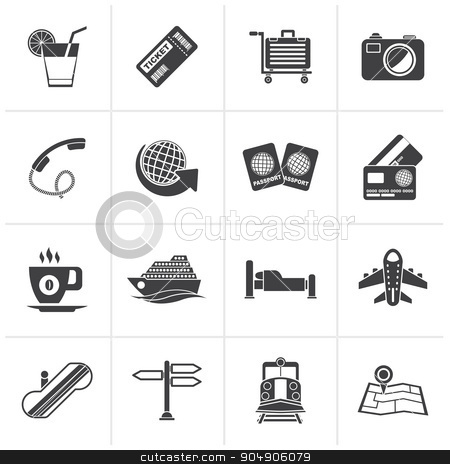 Black Travel and vacation icons stock vector clipart, Black Travel and vacation icons - vector icon set by Stoyan Haytov