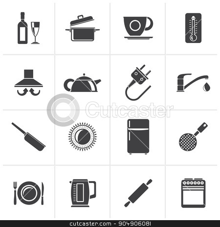 Black kitchen objects and accessories icons stock vector clipart, Black kitchen objects and accessories icons - vector icon set by Stoyan Haytov