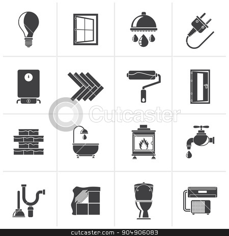 Black Construction and home renovation icons stock vector clipart, Black Construction and home renovation icons - vector icon set by Stoyan Haytov