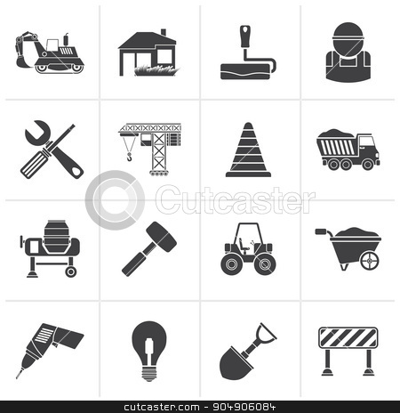 Black Building and construction icons  stock vector clipart, Black Building and construction icons - vector icon set by Stoyan Haytov