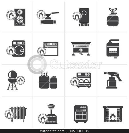 Black Household Gas Appliances icons  stock vector clipart, Black Household Gas Appliances icons - vector icon set by Stoyan Haytov