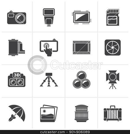 Black Photography equipment icons stock vector clipart, Black Photography equipment icons - vector icon set by Stoyan Haytov