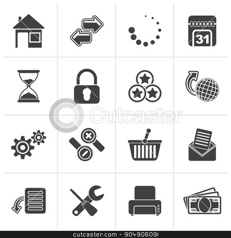 Black Web Site and Internet icons stock vector clipart, Black Web Site and Internet icons - vector icon set by Stoyan Haytov