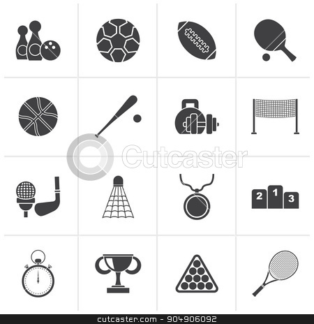 Black Sport equipment icons stock vector clipart, Black Sport equipment icons - vector icon set by Stoyan Haytov