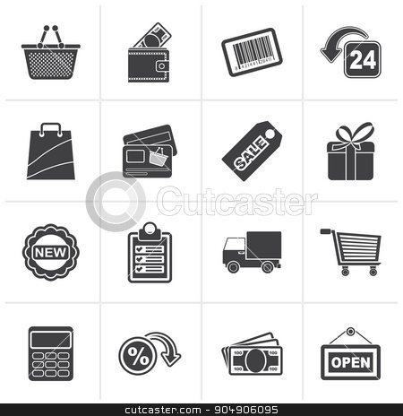 Black shopping and retail icons  stock vector clipart, Black shopping and retail icons - vector icon set by Stoyan Haytov