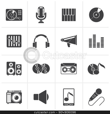 Black Music and audio equipment icons  stock vector clipart, Black Music and audio equipment icons - vector icon set by Stoyan Haytov
