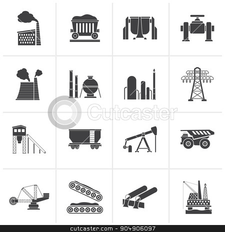 Black Heavy industry icons  stock vector clipart, Black Heavy industry icons - vector icon set by Stoyan Haytov