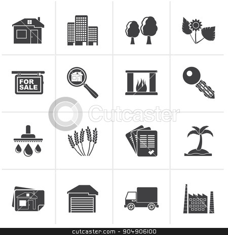 Black Real Estate and building icons stock vector clipart, Black Real Estate and building icons - Vector Icon Set by Stoyan Haytov