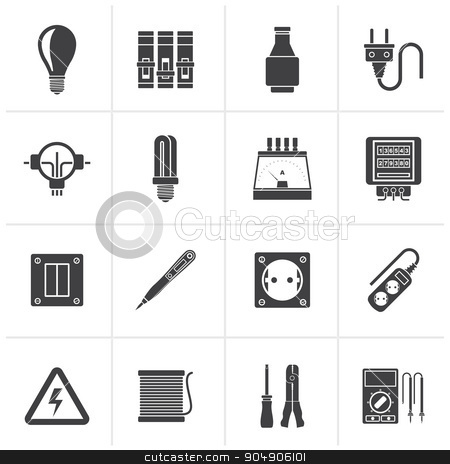 Black Electrical devices and equipment icons stock vector clipart, Black Electrical devices and equipment icons - vector icon set by Stoyan Haytov