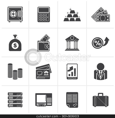 Black Bank and Finance Icons  stock vector clipart, Black Bank and Finance Icons - Vector Icon Set by Stoyan Haytov