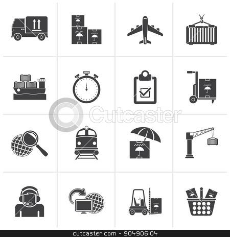 Black Cargo, shipping and logistic icons  stock vector clipart, Black Cargo, shipping and logistic icons - vector icon set by Stoyan Haytov
