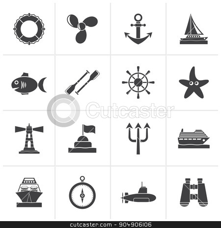 Black Marine and sea icons  stock vector clipart, Black Marine and sea icons - vector icon set by Stoyan Haytov